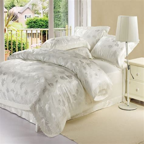 white silk jacquard satin bedclothes bedding sets king