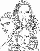 Vampire Coloring Pages Vampires Female Printable Adult Adults Mythical Colouring Dracula Sheets Scary Teeth Halloween Looking Printables Face Coloringsun Gothic sketch template