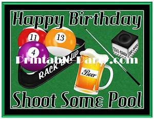 Printable Billiards Party Supplies Billiards Birthday