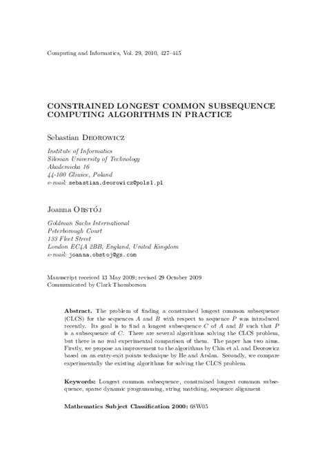 Constrained Longest Common Subsequence Computing