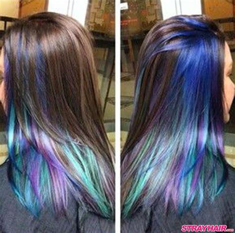 Oil Slick Hair Color Hidden Under Dark Hair Layer Basic