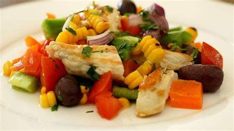 chicken salad  grilled corn  capsicum recipe
