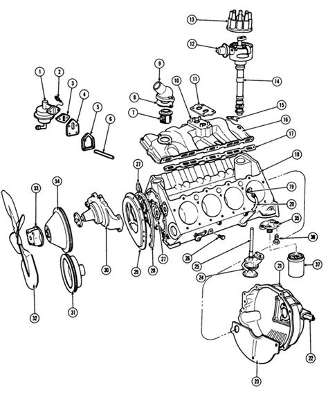 pontiac   engine block illustrated parts break