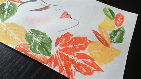 leaf painting idea autumn girl project youtube