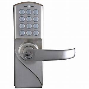 lockstate 10 code digital keyless single cylinder silver With cipher door lock