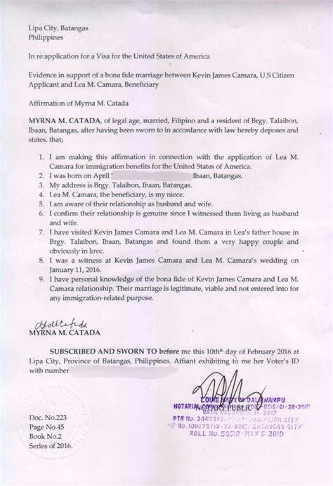 letter of affidavit sle letter personal knowledge marriage relationship