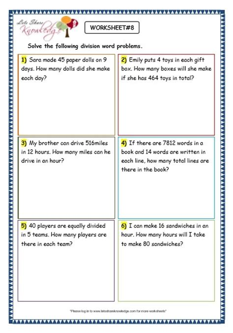 Grade 3 Maths Worksheets Division (69 Division Word Problems)  Lets Share Knowledge