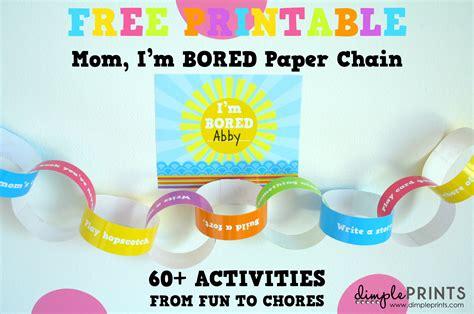 mom im bored paper chain  printable design dazzle
