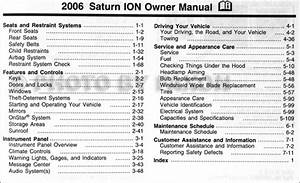 2006 Saturn Ion Owner U0026 39 S Manual Original