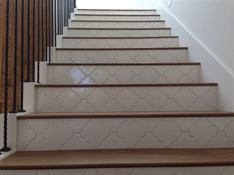 Tile Stair Nosing Manufacturers by Landmark Mohave Wood Stairs With Tile Risers