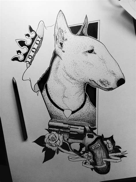 #bullterrier #blackandwhite #dotwork #gun #rose #king #evil #graphic #ink #sketch | about black