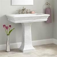 "bathroom pedestal sink 36"" Polished Carrara Marble Pedestal Sink - Bathroom Sinks - Bathroom"