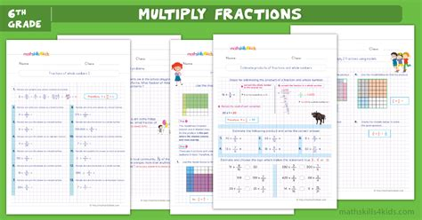 multiplying fractions worksheets  answers math