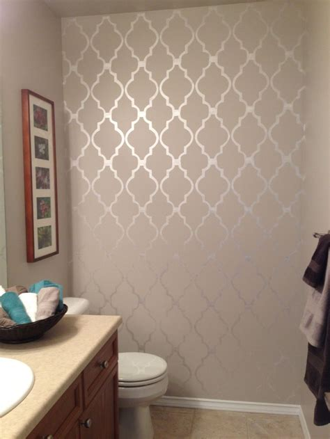bathroom stencil   walls pinterest bathroom