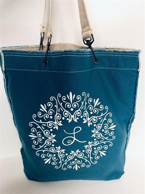 mandala cotton canvas tote bag monogram tote bag tote  etsy   personalized tote