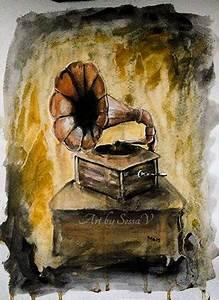 Gramophone - watercolor by SessaV on DeviantArt