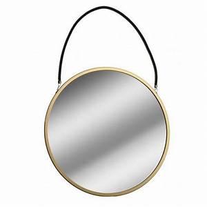Miroir Rond Corde : miroir mural rond metal dore suspendu par une corde noire versa d 43 cm ~ Teatrodelosmanantiales.com Idées de Décoration
