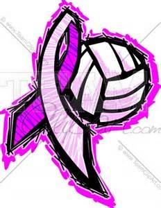 Pink Ribbon Volleyball Clip Art