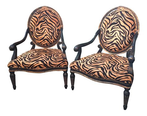 Tiger Print French Quarter Arm Chairs