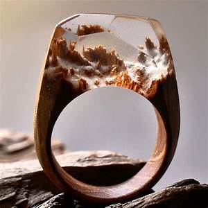 Get lost in the landscape contained inside this ring for Secret wood resin rings