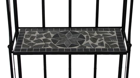 Metallregal Garten Blumentreppe Mit Mosaik In Schwarz Grau