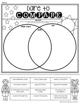 sun  stars venn diagram sort  grade science