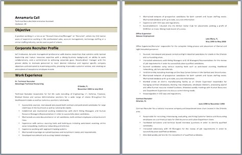 Best Resumes For Recruiters by Corporate Recruiter Resume Sle Resumes