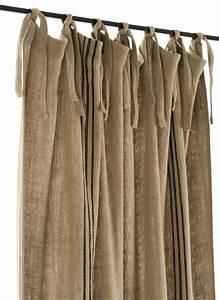 Rideau A Nouette : rideau en gros lin pais 100 lin naturel 140x280 cm dot de franges motif rayure noire ~ Teatrodelosmanantiales.com Idées de Décoration