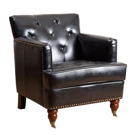 abbyson living misha tufted faux leather accent chair in
