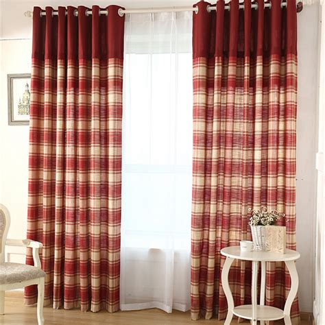 simple plaid country curtains linen and cotton