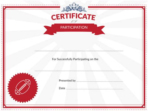 printable football certificate  participation award