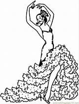 Coloring Printable Flamenco Dancers Spain sketch template