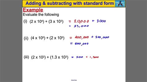 Adding & Subtracting With Standard Form Youtube