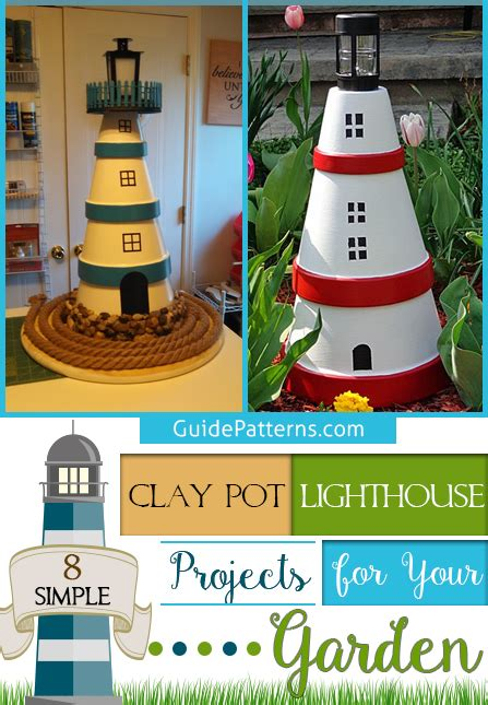 simple clay pot lighthouse projects   garden