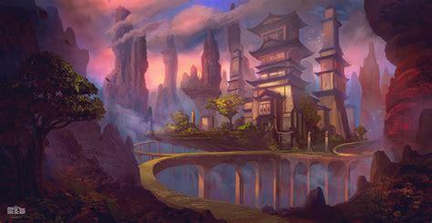 temple fantasy environment concept art copy  behance