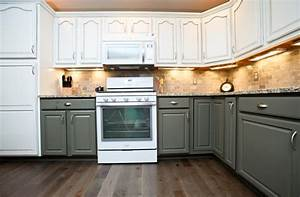 two tone kitchen cabinets giving contemporary sensation With kitchen colors with white cabinets with dinner candle holders