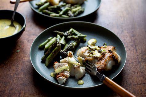 pan seared hake  asparagus  aioli recipe nyt cooking