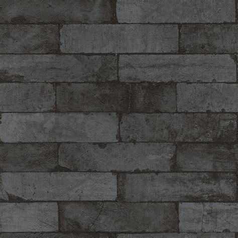 Washington Wallcoverings Black on Charcoal Gray Faux Brick