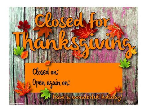 closed signs  thanksgiving printable festival collections