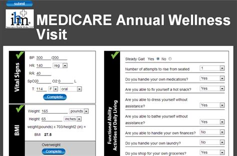 annual wellness visit template medicare annual wellness visit templates screening forms