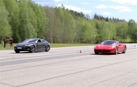 700 Hp Tesla Model S P85d Vs Ferrari 458 Italia Gtboard