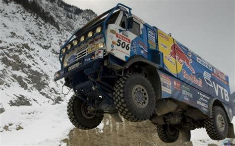 rally truck racing red bull dakar rally russian kamaz race truck desert