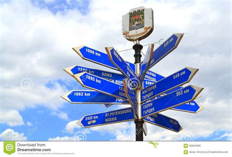 Plovdiv city signpost stock image. Image of locations ...