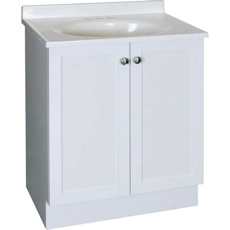 shop project source white integrated single sink bathroom