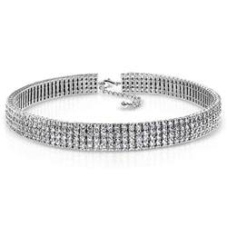 graduation gift jewelry 4 row cubic zirconia bridal choker necklace