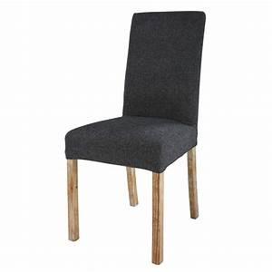 Housse De Chaise Grise : housse de chaise en tissu gris charbon margaux maisons ~ Teatrodelosmanantiales.com Idées de Décoration