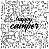 Coloring Camping Pages Camper Happy Colouring Drawn Hand Illustration Adult Sheets Rv Print Vector Fun Nature Funny Adults Cute Lynx sketch template