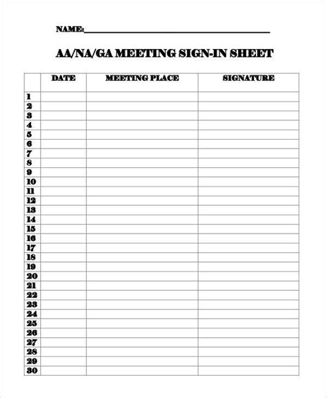 aa sign in sheet