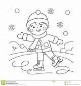 Coloring Winter Sports Outline Boy Cartoon Skating Preschool Preview sketch template