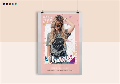 pink birthday poster design template  psd word